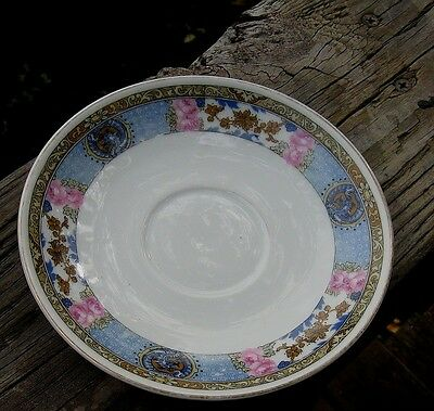 VINTAGE FRAUREUTH SAXONY CHINA BLUE WITH PINK FLOWER PATTERN SAUCERS