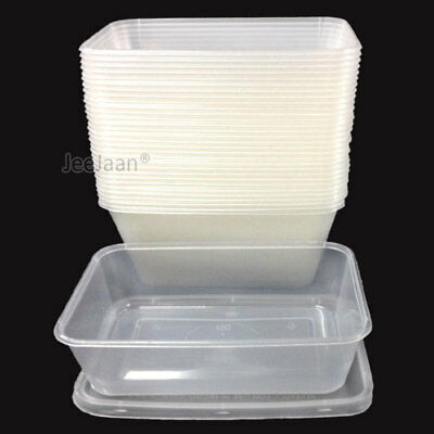 50 Plastic Containers Tubs Clear With Lids Microwave Food Safe Takeaway 650ml