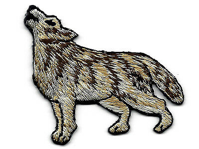 WOLF, HOWLING - Embroidered Iron On Applique Patch-Forest Animals