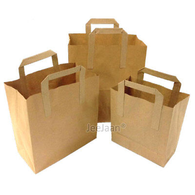 Brown Paper Carrier Bags Sos Kraft Takeaway Food Lunch Party With Handles