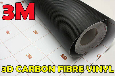 【3M DI-NOC】【600mm(23.6in) X 1520mm AIR FREE】CARBON FIBER Black Wrap Vinyl
