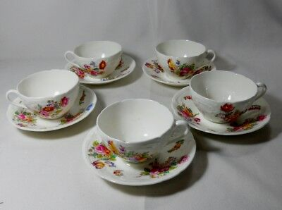 Coalport Sevres Group-Embosses/No Trim Set of 5 Cups and Saucers