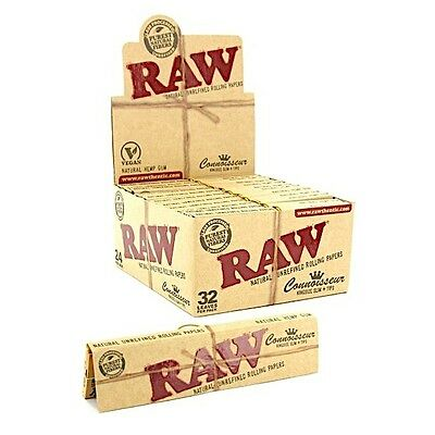 Full box Raw Connoisseur King Size Natural Slim Cigarette Papers + Tips 24 packs