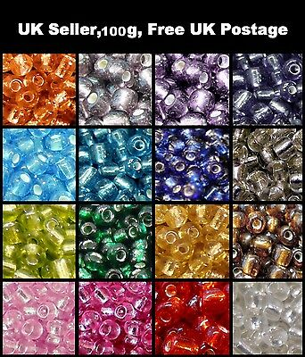100g -11/0, 6/0, 8/0 Silver Lined Glass Seed Beads - Various Colour & Size