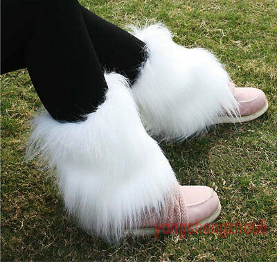 Lady's Boot Cuff Fluffy Soft Furry Faux Fur Leg Warmers Boot Toppers 20 cm