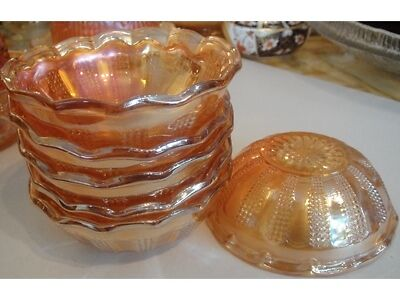 Set of 6 Imperial Marigold Carnival Glass Diamond Point Columns Berry Bowls