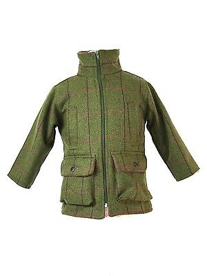 Shire Classics Girls Pink Check Shooting Hunting Tweed Jacket Fleece Lined