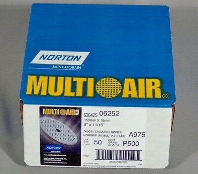 "1000 Grit 6/"" Ceramic NorGrip Norton 6378 Multi-Air 06378 50 Discs Per Box"