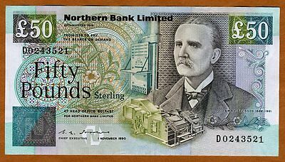 Ireland, Northern Bank, 50 pounds, 1990, P-196, Ch. UNC