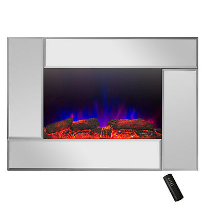 "36"" Mirror Finish Wall Mount 2-in-1 Log & Pebble Electric Fireplace Stove Remote"