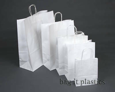 TWIST HANDLE RIBBED PAPER BLOCK BOTTOM CARRIER BAGS - WHITE or BROWN