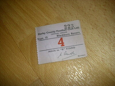 DERBY v BLACKBURN  Central League  15/9/1954  Original Football Ticket