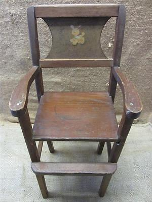 Vintage Wooden Doll High Chair   Antique Toy Old Dolly Highchair Girl Boy 7348