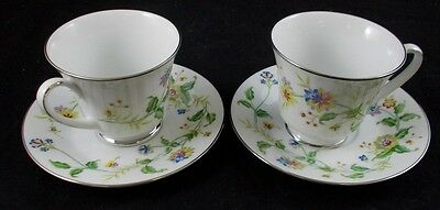 Noritake NOUVEAU 2 Footed Cup and Saucer Sets #2402 GREAT CONDITION
