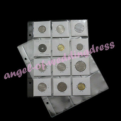 5 Album Pages 12 Pockets Money Cardboard Coin Holder Flips Collection 50x50mm