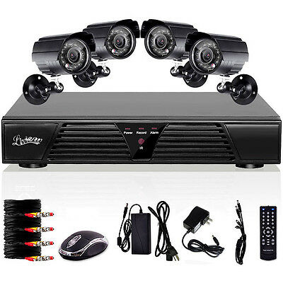 Standalone 4CH CCTV DVR Security Kit H.264 D1 4 Outdoor Waterproof Color Cameras