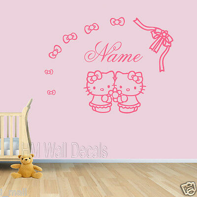 Customise name & Hello Kitty wall decal for kids who desire something special