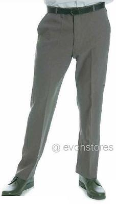 "Mens 100% Polyester Flat Front with Belt Bowling Grey Trousers Size 30"" to 44"""