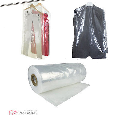 "Garment Cover Clear Polythene Bags 44"" Dry Cleaner Laundary Clothes Packing"