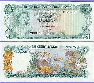 Bahamas 1 Dollar Banknote 1974 Choice Extra Fine Condition Cat 35 A Sn268828