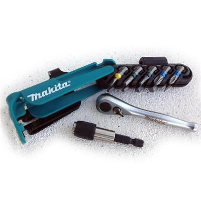 Makita P-79142 Screwdriver Bit Set Colour Coded With Bit Holder And Ratchet 12Pc