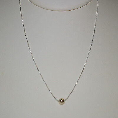 6 pcs Sterling Silver 925 Box Chain with 14kt Gold Filled 5mm Bead NECKLACES Lot