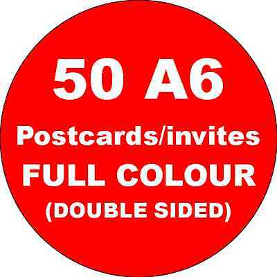 50 A6 Double Sided Full Colour Cards Printed on 350gsm Card
