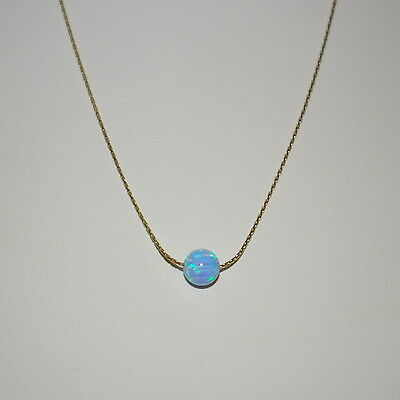 3 pieces 14kt Gold Filled 0.6mm Fine Chain with 6mm BLUE OPAL BEAD NECKLACES Lot