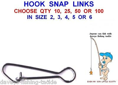 Hook Snap Links For Sea Boat Fishing Bait Rigs Lures Zip Slider Booms Line Clips