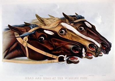 2 Horse Racing Prints Old Antique Currier & Ives Pictures Neck & Neck Repro NEW