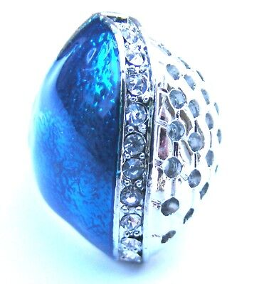 Turquoise Teal Silver Plated Clear Crystal Dome Ring Size M Free Uk Post! Tq3