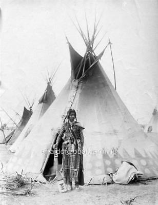 Old Photo. Canada. Native American Indian Young Blackfoot Brave - Tepee