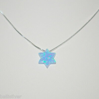 Turquoise Blue OPAL STAR of DAVID Charm Sterling Silver 925 Box CHAIN Necklace