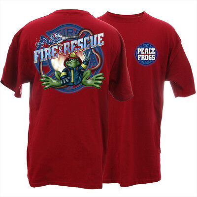 Peace Frogs Firefighter Fireman Adult X X- Large T-Shirt