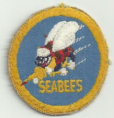 Seabee Post WWII Navy Patch Yellow Border & Bee Variant