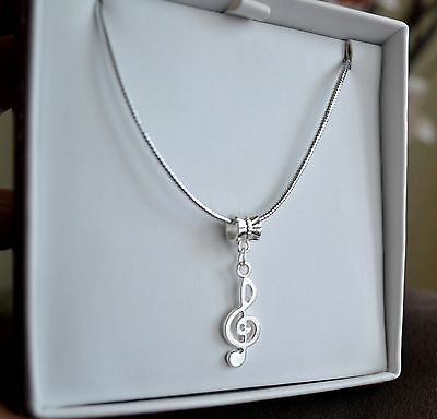 Silver Music Note Treble Clef European Style Necklace And Pendant Set 48cm