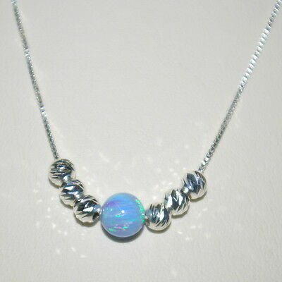 3 pcs St. Silver 925 BOX Chain with 6mm BLUE OPAL & 4mm Laser Cut Bead NECKLACES