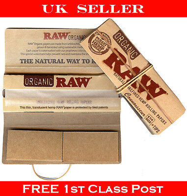Full Box Raw Organic Connoisseur King Size Natural Slim Cigarette Papers 24 Pack