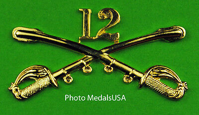 12th Cavalry Crossed Sabers Large Hat Pin