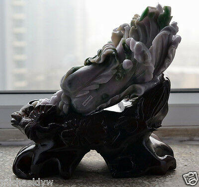 Fine Natural 3 Color Type A Jadeite Jade Chinese Propitious Cabbage Statue