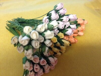 20 MINI ROSE BUD FLOWERS (with stem) CARD MAKING EMBELLISHMENTS CHOICE OF COLOUR