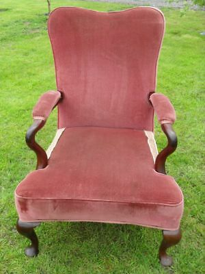 Victorian Mahogany and upholstered open easy armchair