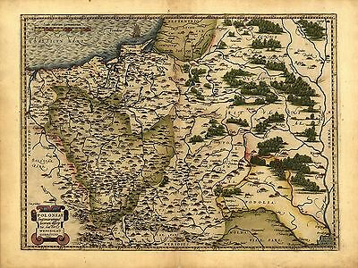Abraham Ortelius Poland Lithuania Russia Repro Old Antique Map 1570 Plan Soviet