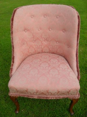 Damask button upholstered tub nursing chair