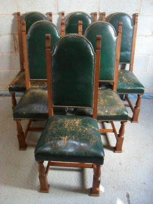 Set of 6 Edwardian Oak and Leather studded Arts & Crafts high back dining chairs