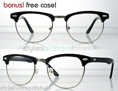 4a6621a66d Vintage Inspired 80s Clubmaster Clear Lens Black   Silver Hipster Nerd  Glasses