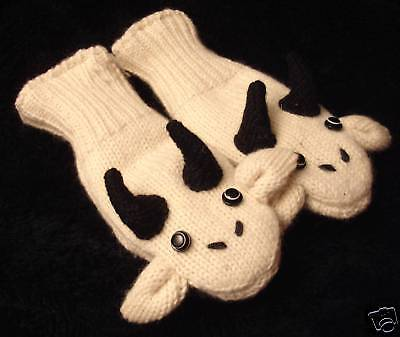 GOAT MITTENS shaped knit FLC LINED animal costume ADULT mens women HAT SEPARATE