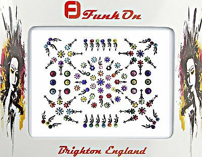 Huge Packet Aprox 70 Silver & Multi-Coloured Diamante Indian Bridal Bindi 04