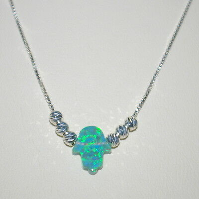3 pcs Small GREEN OPAL HAMSA with Sterling Silver 925 BOX Chain & Bead Necklaces