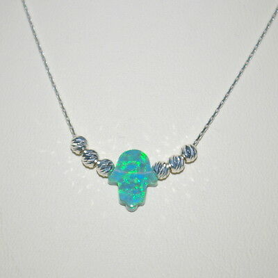 3 pcs Sterling Silver 925 Fine Chain & Beads + Small GREEN OPAL HAMSA Necklaces